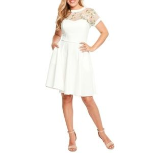 Sweetheart Neckline White Fit & Flare Dress